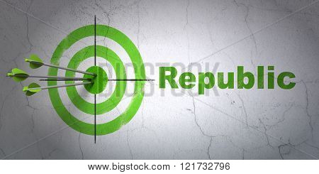 Politics concept: target and Republic on wall background