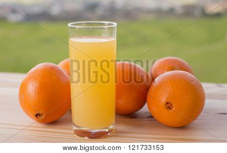 glass of delicious orange juice and oranges on table in garden