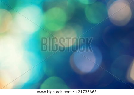 Bokeh in green and blue with flares