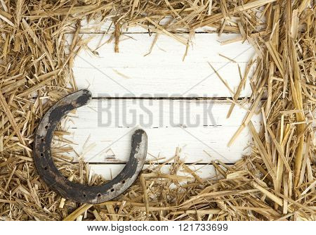 frame of hay and rusty horseshoe on white wooden background