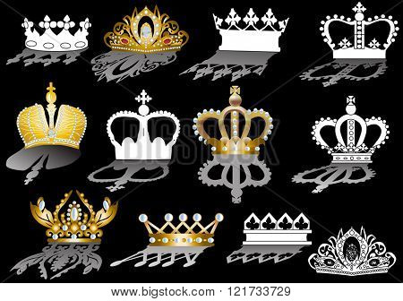 illustration with crown collection isolated on black background