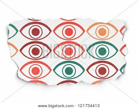 Security concept: Eye icons on Torn Paper background