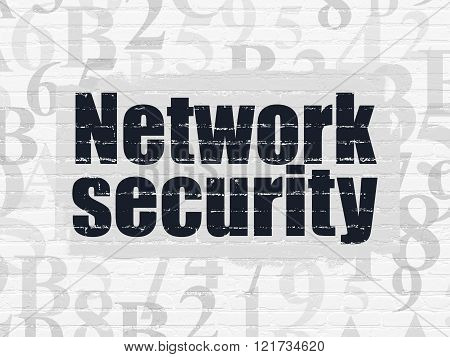 Safety concept: Network Security on wall background