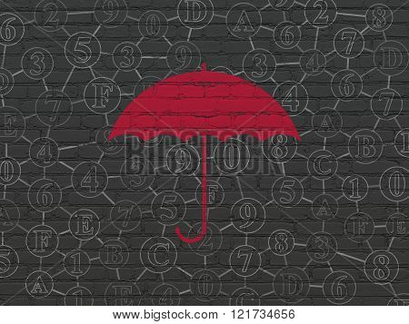 Safety concept: Umbrella on wall background