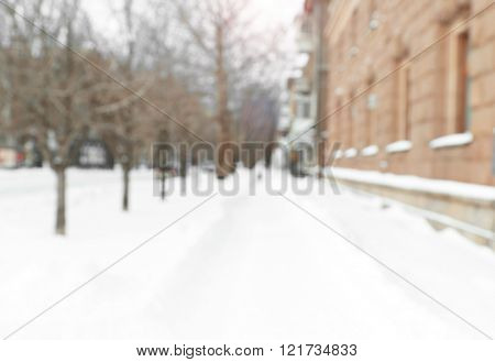 Snowy alley, abstract background