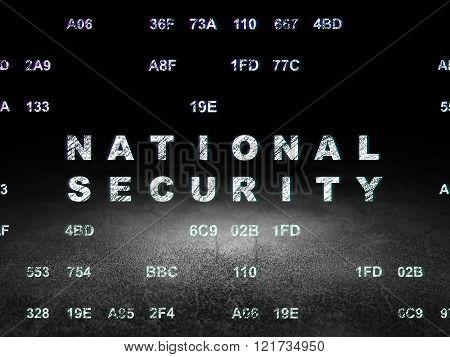 Safety concept: National Security in grunge dark room