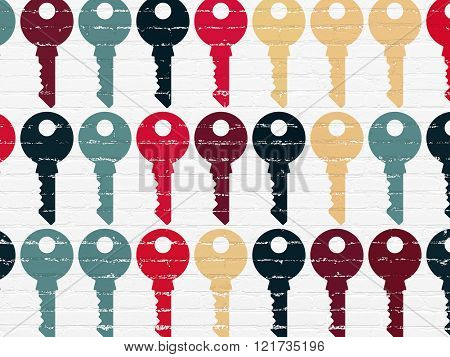 Safety concept: Key icons on wall background