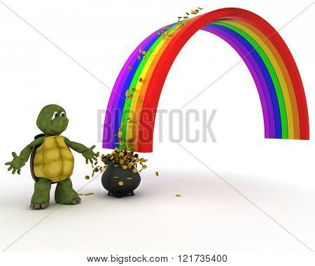 3d render of turtle with pot of gold at the end of the rainbow