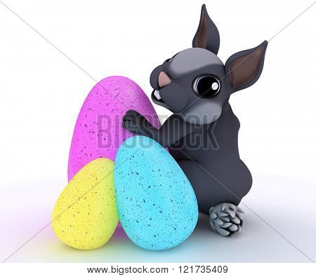 3D Render of Bunny Rabbit with Easter Egg