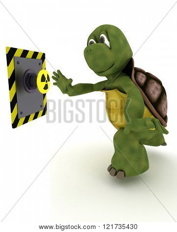 3D Render of a Tortoise pushing a button