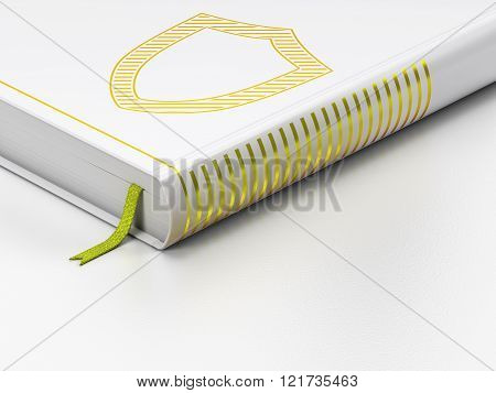 Safety concept: closed book, Contoured Shield on white background
