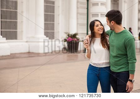 Romantic Couple Walking Together In The City