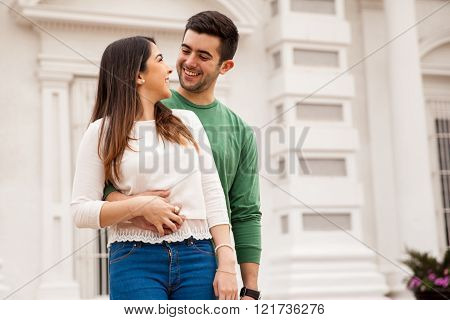 Pretty Young Couple Looking At Each Other