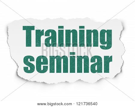 Studying concept: Training Seminar on Torn Paper background