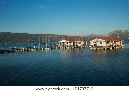 Small Fishing Houses On Stilts On The Lake Mesologgi