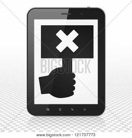 Political concept: Tablet Computer with Protest on display