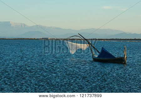 Beautiful Landscspe With Boats At The Lake Of Mesologgi