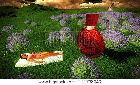 woman lying between lavender flowers on field