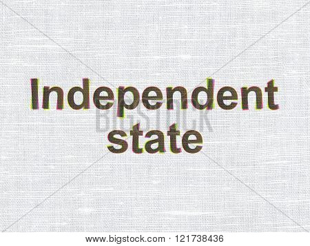 Politics concept: Independent State on fabric texture background