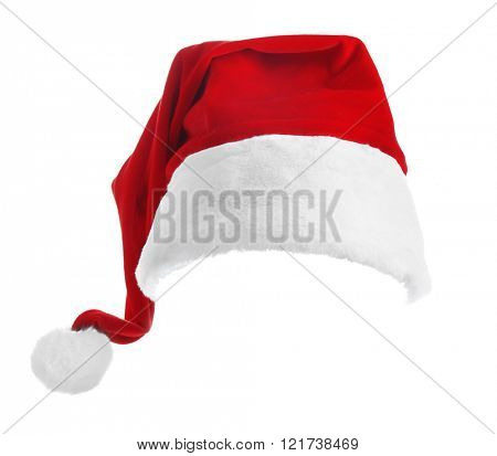 Santa Claus red hat isolated on white background, close up