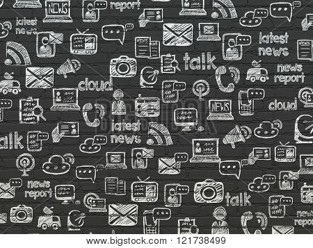 Grunge background: Black Brick wall texture with  Hand Drawn News Icons