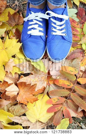 Woman in blue trainers standing on foliage