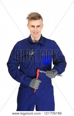 A young repairman holding car repairing tool, on white background