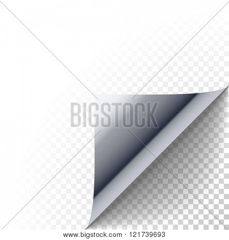 Paper corner peel. Silver metallic page curled fold with shadow. Blank sheet of folded sticky paper note. Vector illustration of sticker peel element for promotional message on transparent background