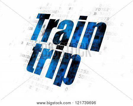 Tourism concept: Train Trip on Digital background