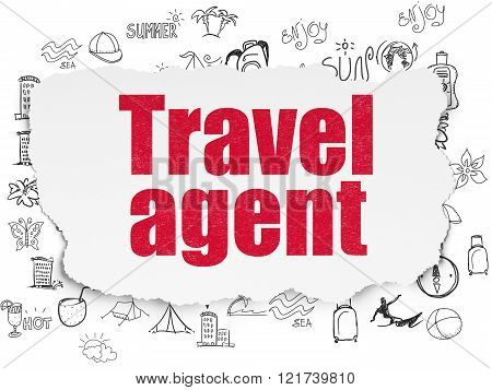 Tourism concept: Travel Agent on Torn Paper background