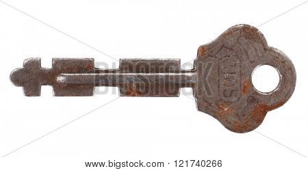 Old rusty key with number