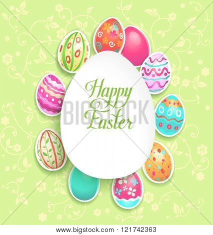 Spring easter holiday with eggs for design card, banner,ticket, leaflet and so on.Template page with handwritten inscription Happy Easter. Holiday card.