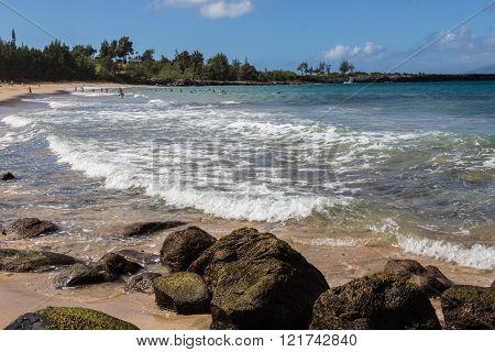 View of one of the beautiful beaches in Maui, Hawaii