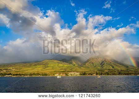 Lahaina Maui Hawaii A rainbow over a mountain in Lahaina Maui