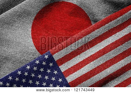 Flags Of Usa And Japan On Grunge Texture