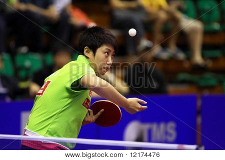 KUALA LUMPUR, MALAYSIA - SEPTEMBER 24: Guo Yue of China (ITTF World Rank 7) serves in her match at the Volkswagen 2010 Women's World Cup in table tennis on September 24, 2010 in Kuala Lumpur.