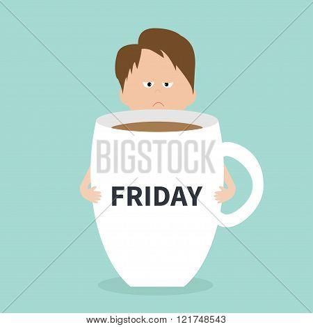 Sleepy Businessman Manager Hugs Friday Coffee Cup Mug Blue Background Flat Modern Simply Design