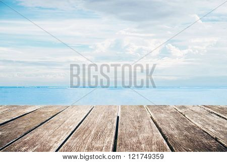 Wooden pier with sea view from the island