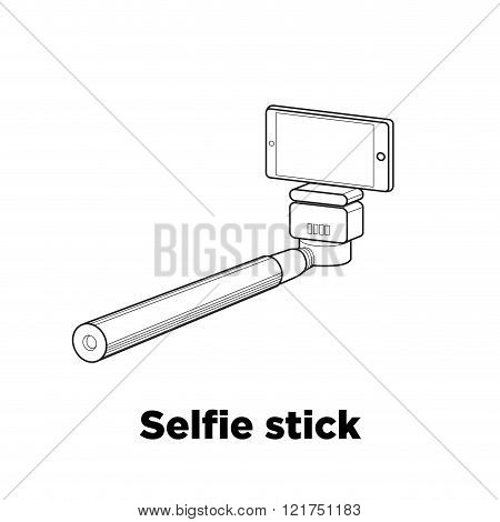 Selfie Stick Line Vector Icon On The White Background