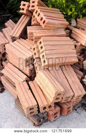 New Group Of Raw Brick For Building Or Construction