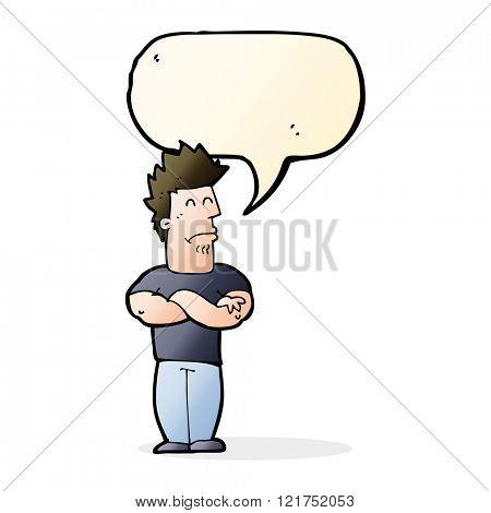 cartoon sulking man with speech bubble