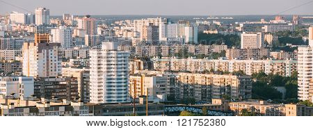 Aerial view, cityscape of Minsk, Belarus