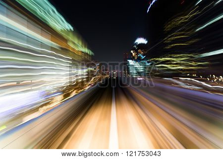 Speedy train moving in tunnel