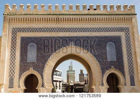 the Bab Bou Jeloud entrance to the ancient medina of Fes, Morocco