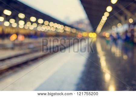 Blurred Bokeh Background In Train Station