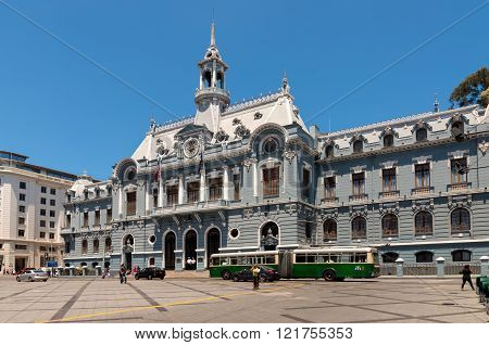 Valparaiso, Chile - December 3, 2012: Spectacular Navy Building in Plaza de Armas Valparaiso, Chile. The building is located in a huge square near by Pacific Ocean.