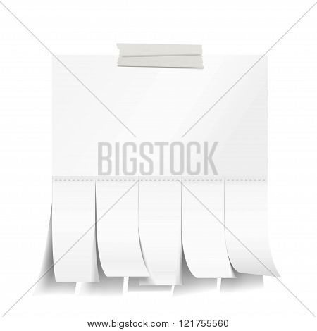 Blank white paper with cut slips