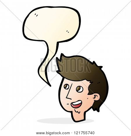 cartoon happy boy face with speech bubble