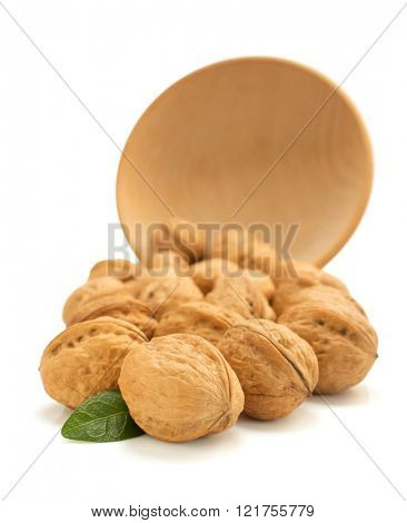 walnuts in bowl isolated on white background