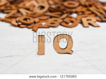 Word  Iq (intelligence Quotient ) Made With Wooden Letters